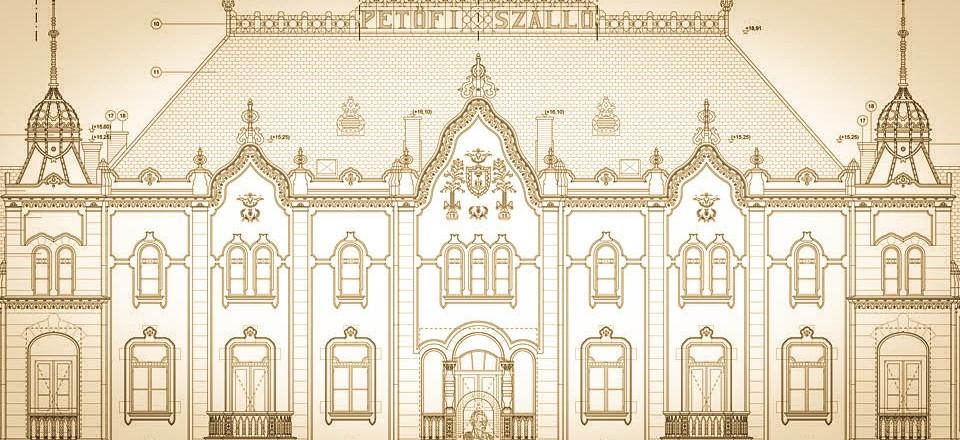 """""""Petőfi"""" Hotel & Theatre frontage, detail"""